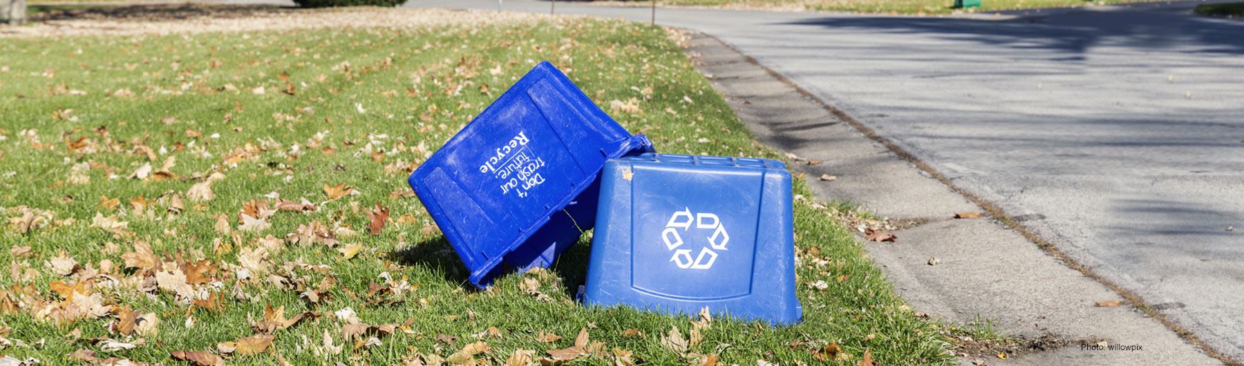 recycle bins on lawn